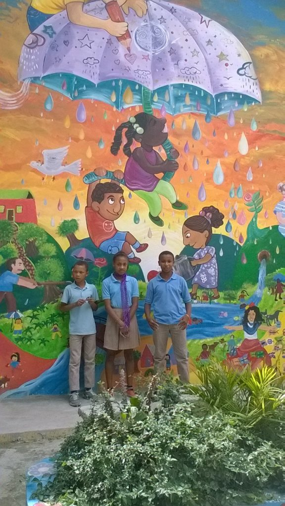 A mural painted by children at the inauguration of their classrooms